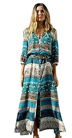 Bluestercool Femmes Robe longue imprimée florale Dress de Bohême Plage d'été (M, Vert)