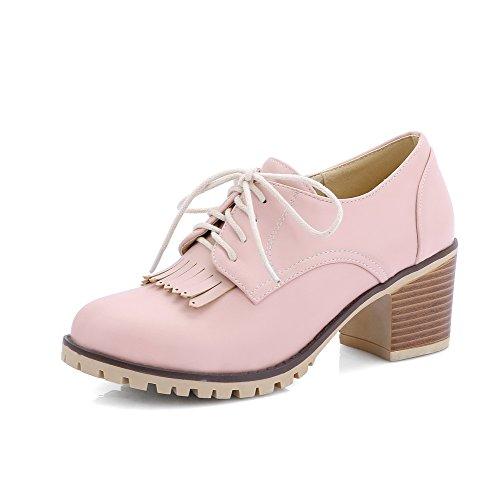 VogueZone009 Damen Weiches Material Schn眉ren Rund Zehe Mittler Absatz Rein Pumps Schuhe Pink