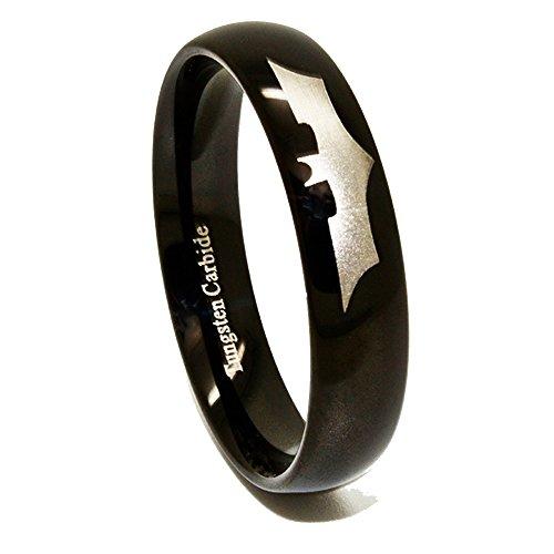 6 mm negro plateado anillo de tungsteno con tamaños de Batman Símbolo H - Z