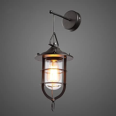 JiaYouJia Industrial 1-Light Metal Black Cage Clear Glass Outdoor Hanging Wall Lantern Light