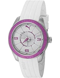 Puma Motorsport Slice - Small Unisex Quartz Watch with White Dial Analogue Display and White Plastic or PU Strap PU102972003