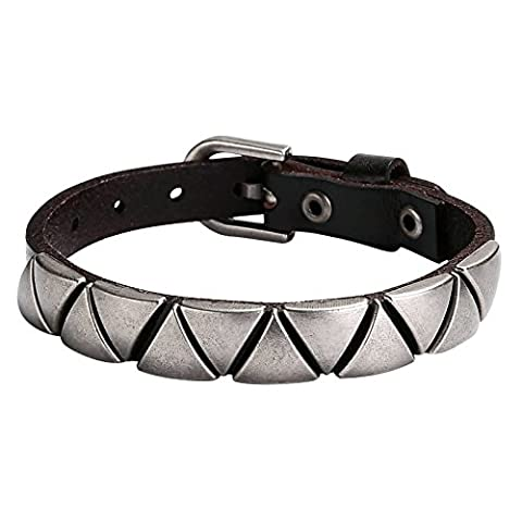 Bishilin Stainless Steel Adjustable Metal Triangle Watch Strap Leather Bangle