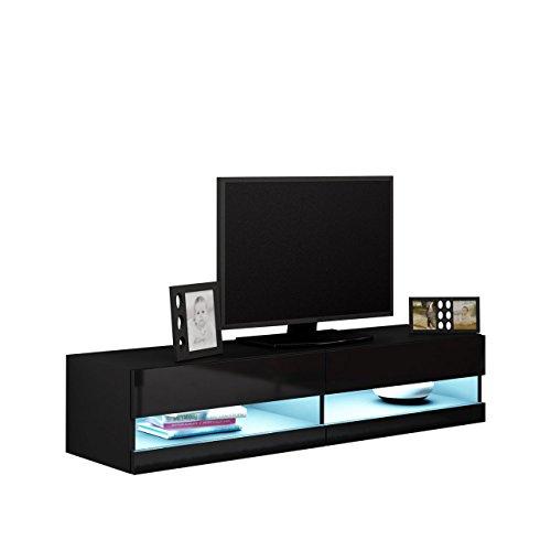 Elegant Tv Board Vigo New Tv Tische Tv Lowboard Tv Schrank Hngeschrank  Hochglanz Mit Blauer Led Beleuchtung Schwarz Schwarz Hochglanz With  Hngeschrank ...