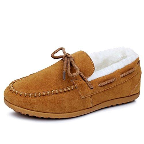 Erbsenschuhe Slipper Schuhe Leicht Damen Wildleder Warm Loafers Braun Hausschuhe Herren Mokassins Winter Kuschelig Bootsschuhe Gefüttert Wng7vqWZ