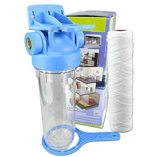 """Wasserfilter 10 Zoll Anschluss 1/2\"""" IG Garten Pumpen Vorfilter Nachfilter mit Filtereinsatz Hauswasserwerke Filter Schmutzfilter (1/2\""""- YARN)"""