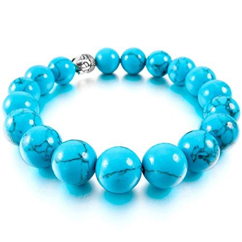 MunkiMix 10mm 12mm Alliage Bracelets d'énergie Lien Poignet Pièrre d'Énergie Turquoise Ton d'Argent Bleu Buddha Mala Boule Perle 12mm Turquoise