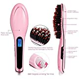 ISABELLA Women's Electric Comb Brush LCD Screen with Temperature Control Display Fast hair straightener for women