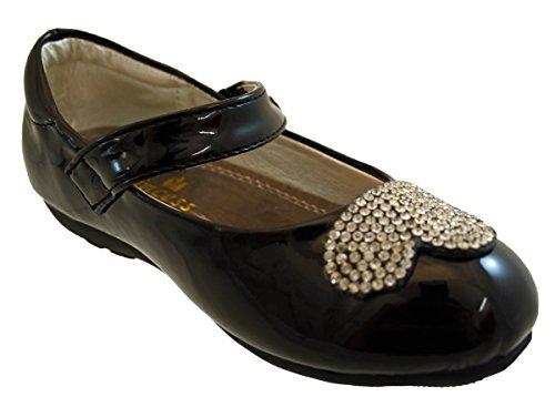 Bébé bambin petites filles noir, rouge, argent et blanc parti de Velcro pour le brevet paillettes argent Chaussures enfant taille 21-25 silver