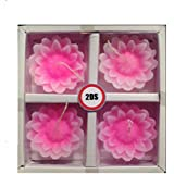 2DS Lotus Flower Shape Handmade Floating Candles For Home Decoration Diwali & Best Puja Ambience, Without Fragrance Set Of 4 (Pink)