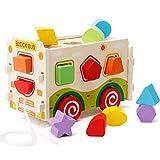 Lewo Sorter di Forma di Legno Autobus Classico Push Pull Camion Giocattolo per i Bambini Piccoli Riconoscimento del Colore Geometria Giocattoli educativi
