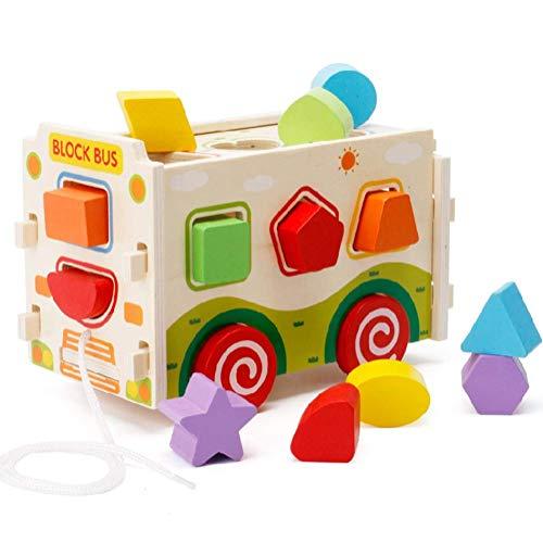 Lewo Clasificador de formas de madera Autobús Clásico Empujar tirar Camión de juguete para niños pequeños bebé Reconocimiento de colores Geometría Juguetes de aprendizaje