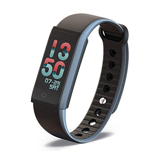 Fitness Armbanduhr mit Herzfrequenz Pulsmesser Kalorienzähler Bluetooth Smart Fitness Tracker mit Schrittzähler/Schlafmonitor/Touchscreen/Vibrationsalarm/Anruf SMS Whatsapp für IOS Android-Schwarz