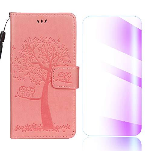 Funda Moto G5, The Grafu® Billetera Libro Cuero Funda [con Protector de Pantalla de Vidrio Templado Gratis] [Ranuras para Tarjetas] Funda para Moto G5, Rosa