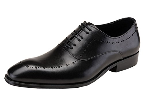 Leder-fahrer-schuhe (Dilize Herren 's Classic Leder Derby Schuhe Lace Up Oxford in schwarz, Schwarz - schwarz - Größe: 43 EU)