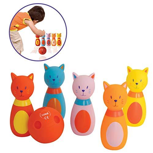 LUDI - Jeu de 6 quilles en forme de chats. Dès 10 mois. Plastique souple et résistant. Balle adaptée aux petites mains. 1er jeu de bowling. Développe la dextérité et de la motricité - 3450