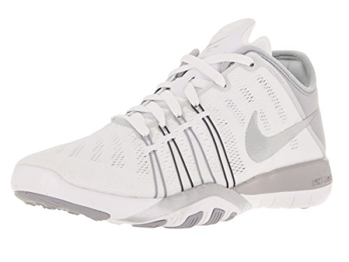 Nike Free Trainer 6, Chaussures de Fitness Femme Blanc Cassé - Blanco (White / Metallic Silver-Wlf Grey)
