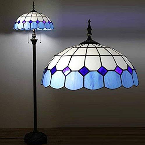 W&HH Tiffany Glas Wohnzimmer Stehlampe Mittelmeer Blau Schlafzimmer Betten Stehleuchten Arbeitszimmer Stehleuchte -