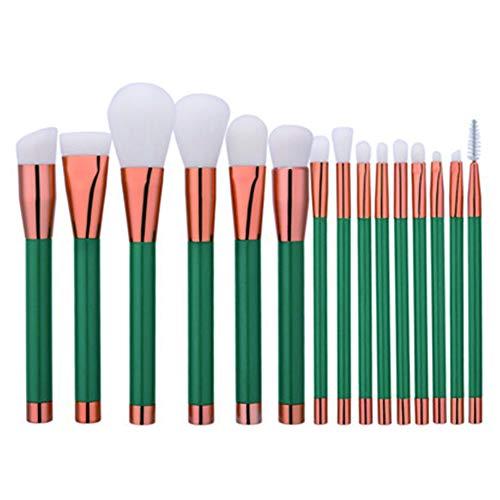 Dosige 15 pcs Set Multifonctionnel Pinceaux Professionnel Pinceaux de Maquillage Yeux Brosse de Brush Cosmétique Professionnel - Vert foncé