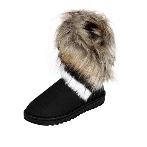 Amlaiworld Damen Stiefel, Fashion Stiefel Flache Ankle Pelz Gefüttert Warm Winter Schneeschuhe (38, Schwarz)
