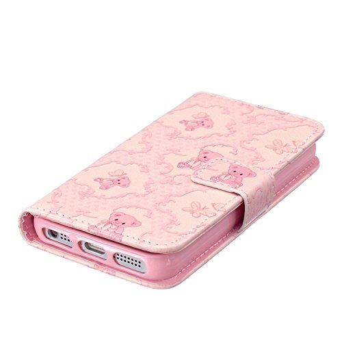 iPhone 6S Coque [avec gratuit 1x protection d'écran et 1x Stylet] Premium PU Cuir Portefeuille Coque pour iPhone 6, CE Flip Folio Couverture de livre de luxe 3d double cœurs Sablier Bling Sparkle Pa C1 Pink Bear