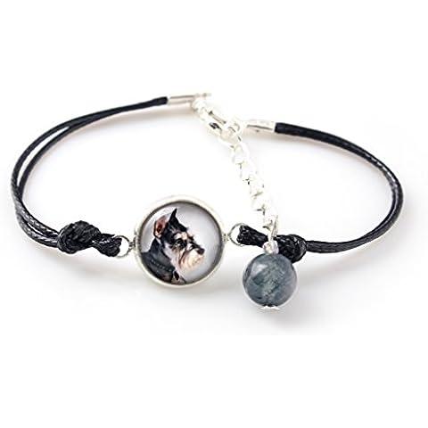 Schnauzer ritagliata, Il braccialetto per le persone che amano i cani, gioielli fatti a mano