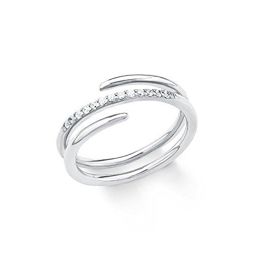s.Oliver Damen-Ring 925 Silber rhodiniert Zirkonia weiß Gr. 54 (17.2) - 2018611