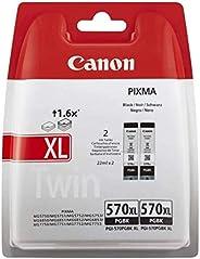 Canon PGI-570 XL 2 Cartuchos de tinta BK XL para Impresora de Inyeccion Pixma TS5050,5055,5053,5051,6050,6052,
