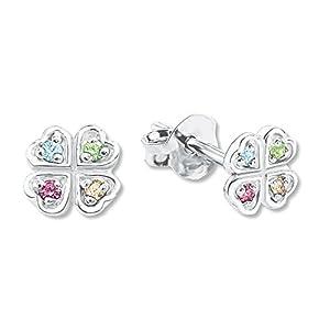 amor Mädchen-Ohrringe mit Kleeblatt-Motiv und bunten Kristallen aus rhodiniertem 925er Sterling Silber