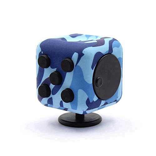 Dohomai 6 sides Fidget Cube Decompression Dice for Children and Adults Relieves Stress Anxiety and Attention Toy at your finger tips (Army blue) - 4