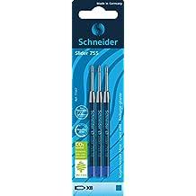 Schneider Slider 755 Kugelschreibermine (ViscoGlide-Technologie, dokumentenecht, XB=Extrabreit) 3er Blisterkarte, blau