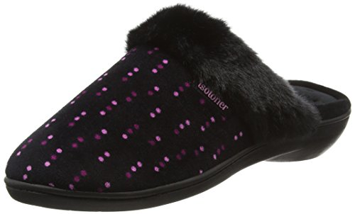isotoner-women-heeled-velour-with-fur-cuff-open-back-slippers-multicolor-dotty-print-5-uk-38-eu
