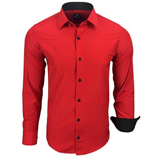 Rusty Neal Herren Kontrast Hemd Business Hochzeit Freizeit Slim Fit S bis 6XL Rot