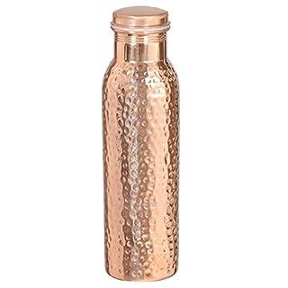 Avs Stores ® 900ml Reise-Wasserflasche aus 100% reinem Kupfer geschmiedet. Aus einem Stück. Mit ayurvedischen Gesundheits-Vorteilen.