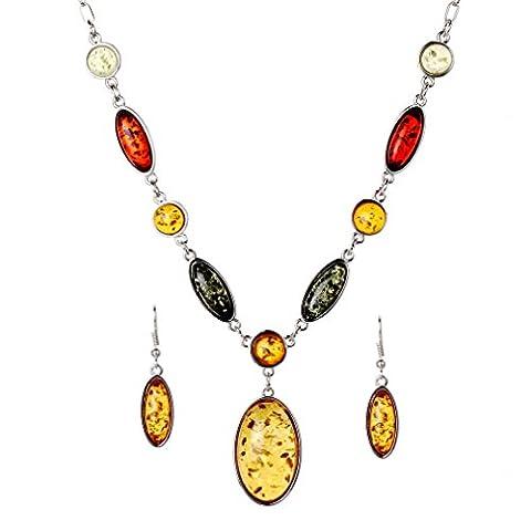 Yazilind New Design Jewelry Sets Tibetan Silver Pendant Necklace Water Drop Earrings Set Jewellery For Women