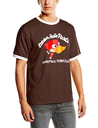 Coole-Fun-T-Shirts Herren Eddies Auto Parts Ringer T-Shirt braun, XXL -