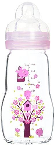 MAM Biberon di Vetro, 260 ml,  0+ mesi, Flusso Tettarella 2, Rosa