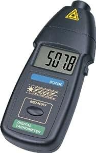 Pixtic - Digital Tachymètre compte tours laser optique sans contact DT2234C, 2.5-99,999 TPM, pointeur laser de classe 2