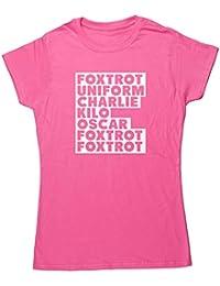 HippoWarehouse Foxtrot Uniforme Charlie Kilo para mujer bajera manga corta