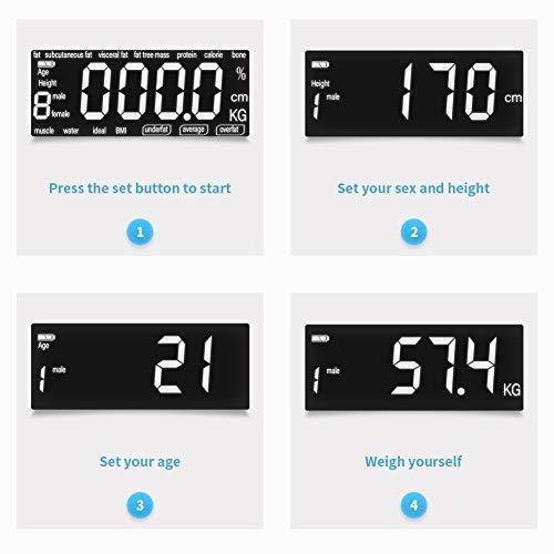 Bilancia Pesapersone Digitale Impedenziometrica Pesa Persona Diagnostica Massa Grassa Grasso Corporeo Precisione Vetro Temperato Sensore Automatico Memorizza 10 Utenti MUBYTREE - 2
