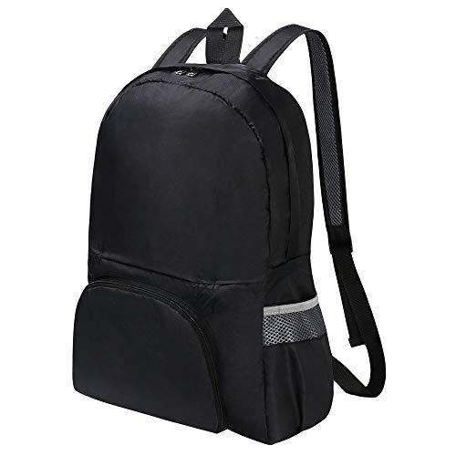 flintronic® Leichter Faltbarer Rucksack, Faltbarer Rucksack, 20L Ultraleichter Wasserdichter und Reißfester Rucksack, Mehrzweck-Unisex-Tagesrucksack für Reise- und Outdoor-Sportarten - Schwarz