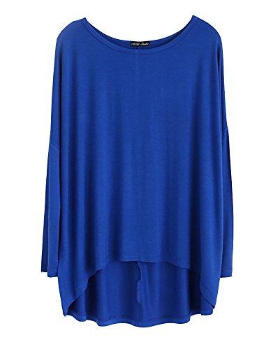 Femme Chemisier Manche Longue Col Rond Lâche Casual Shirt Tops Blouse Saphir Bleu