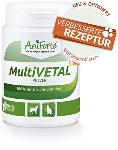 AniForte MultiVETAL Multivitamin Pulver für Hunde, Katzen 100g – Natürliche Multi-Vitamine und Nährstoffe für eine optimale Versorgung, Unterstützung der natürlichen