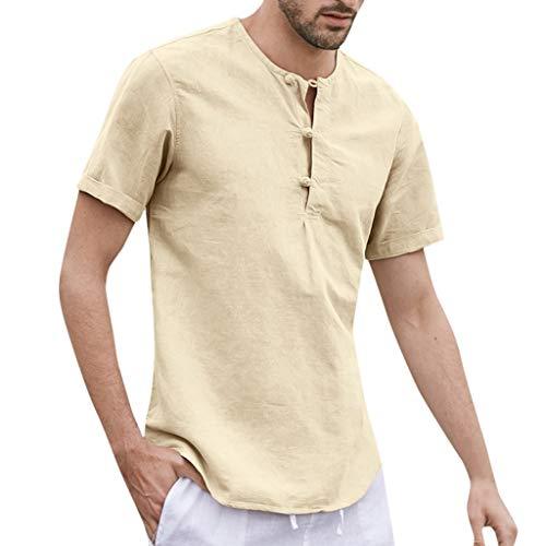Men's T-Shirt Cotton Linen Button Solid Short Sleeve O-Neck Shirts Tops Tank Tee Blouses [Black]