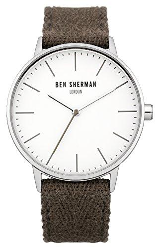 Ben Sherman WB009GRA Herren-Quarzuhr mit weißem Zifferblatt, Analog-Anzeige, grünes Nylonarmband