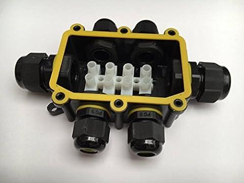 IP68étanche Boîte de jonction 2voies 3voies 4voies 6Way connecteur de câble électrique externe et fil de lumière LED Intérieur Extérieur Taille 5–9mm, noir