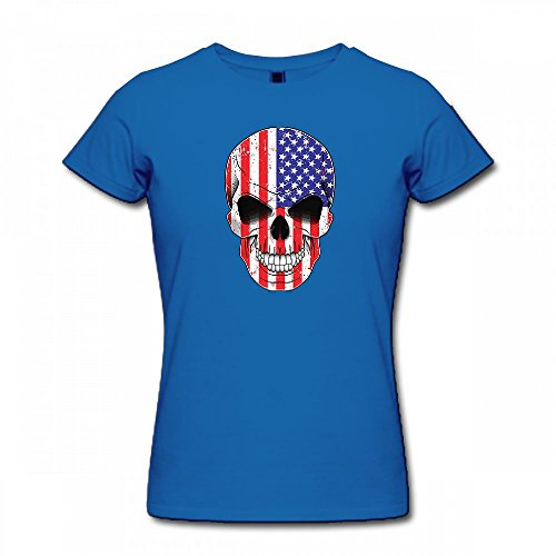 qingdaodeyangguo T Shirt For Women - Design American Flag in Skull Shirt Blue
