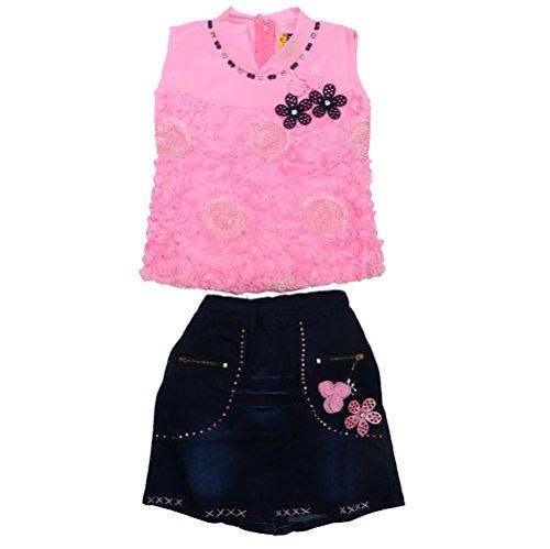Golden Girl Baby Girl's Synthetic Skirt- Top Dress (pink, 6-12 months)