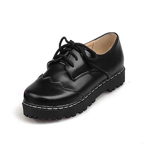 VogueZone009 Femme Couleur Unie à Talon Bas Lacet Rond Chaussures Légeres Noir