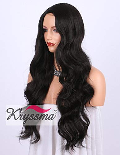 K'ryssma Dark Brown #2 Synthetic Wigs UK Right Side Parting Full Machine Made Long Wavy Wig For Women Heat Resistant 24 Inches