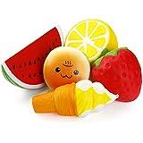 Biging 5 Stücke Kawaii JumboFruit Squishies Spielzeug Stress Relief Toys Langsam Rising Squishies ( Erdbeere, Melonen, Zitrone, Lächeln Burger, Eis)
